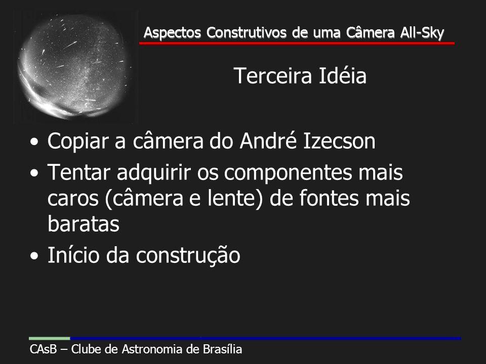 Aspectos Construtivos de uma Câmera All-Sky CAsB – Clube de Astronomia de Brasília Aspectos Construtivos de uma Câmera All-Sky Terceira Idéia Copiar a câmera do André Izecson Tentar adquirir os componentes mais caros (câmera e lente) de fontes mais baratas Início da construção