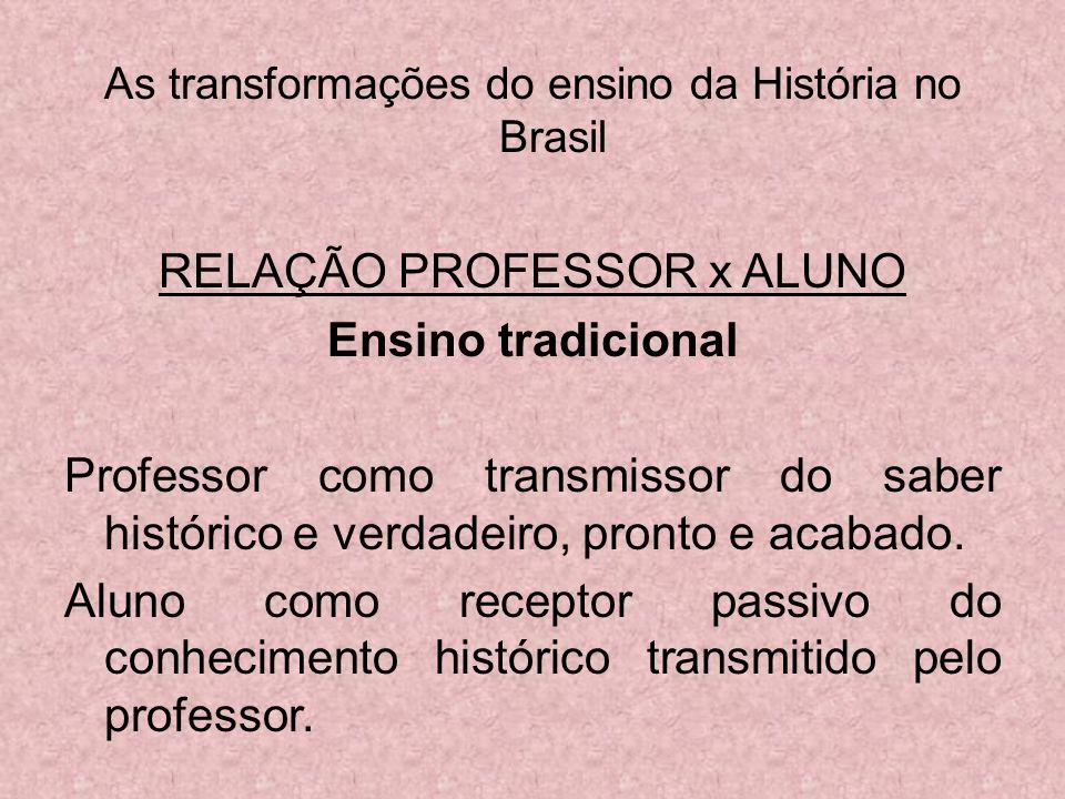 As transformações do ensino da História no Brasil RELAÇÃO PROFESSOR x ALUNO Ensino tradicional Professor como transmissor do saber histórico e verdade