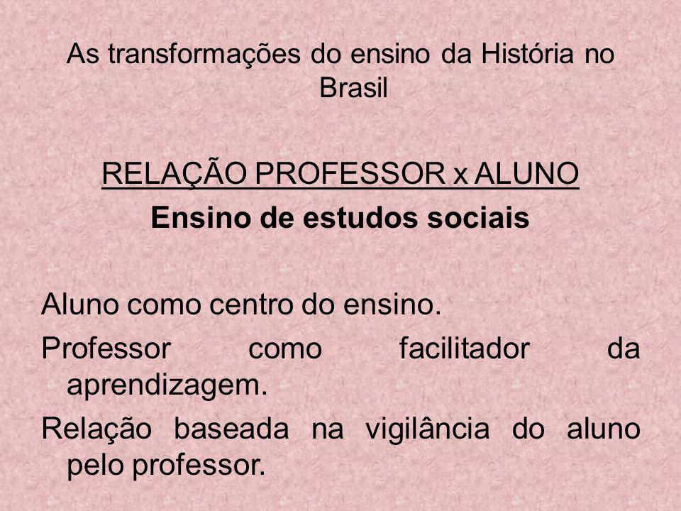 As transformações do ensino da História no Brasil RELAÇÃO PROFESSOR x ALUNO Ensino de estudos sociais Aluno como centro do ensino. Professor como faci