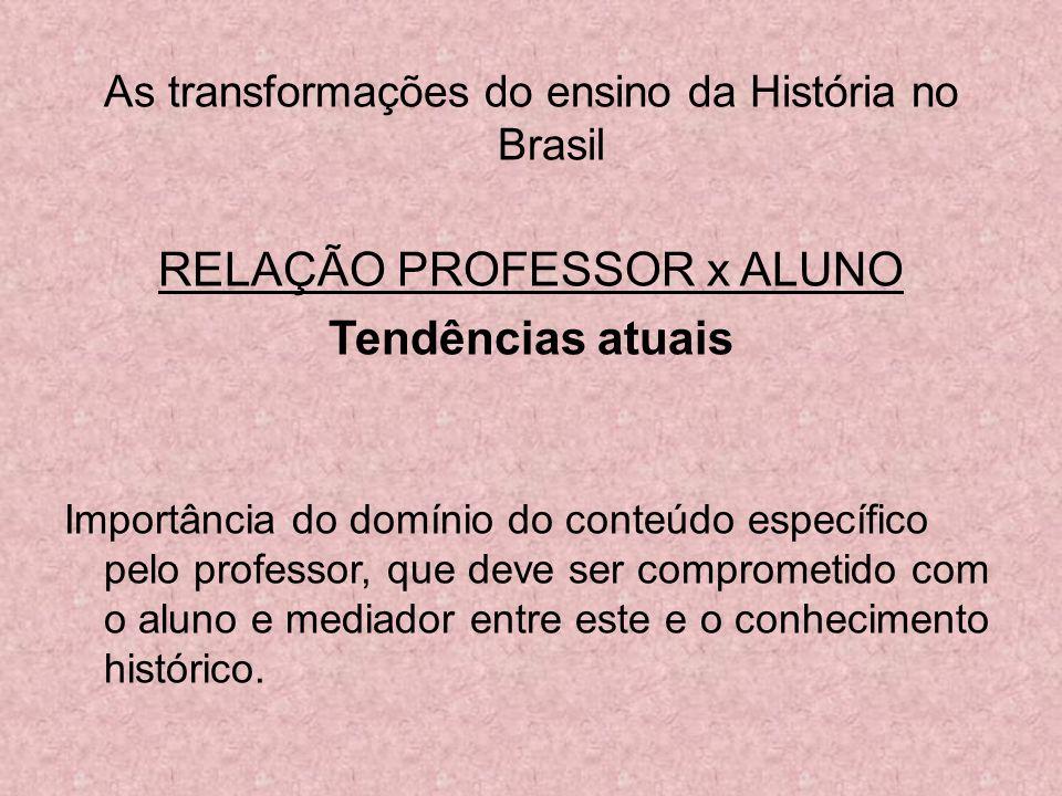 As transformações do ensino da História no Brasil RELAÇÃO PROFESSOR x ALUNO Tendências atuais Importância do domínio do conteúdo específico pelo profe