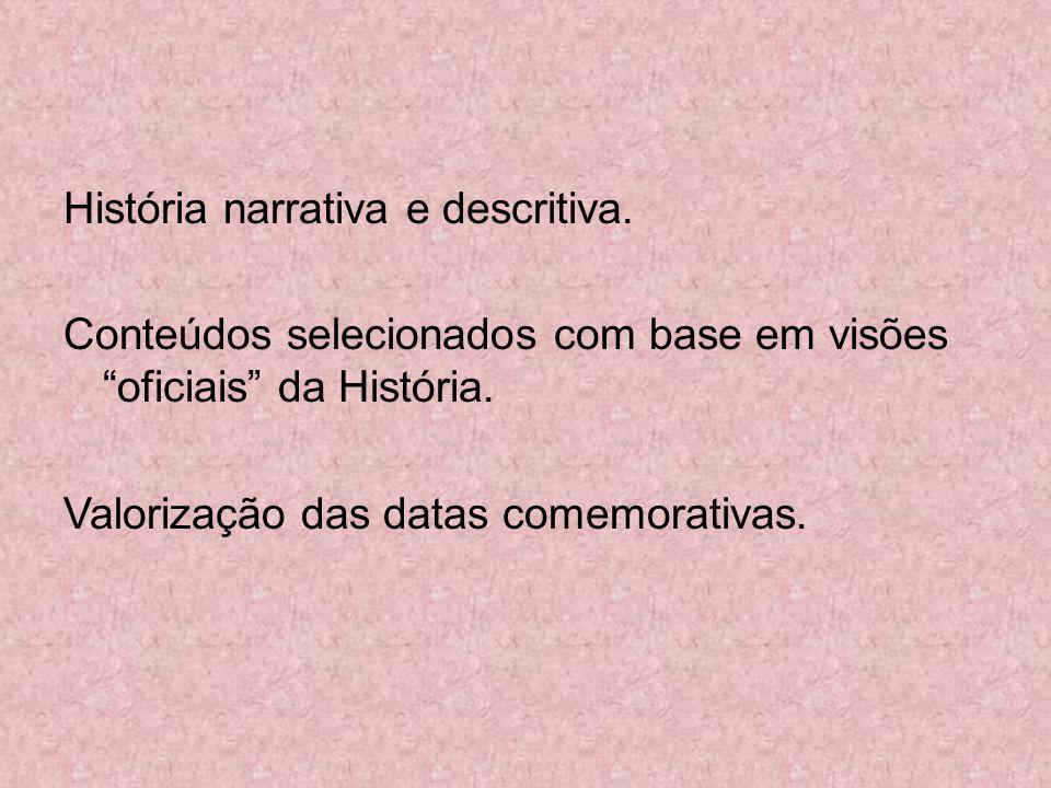 História narrativa e descritiva. Conteúdos selecionados com base em visões oficiais da História. Valorização das datas comemorativas.