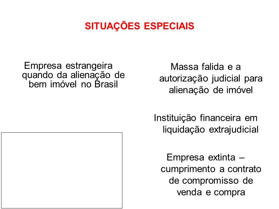 SITUAÇÕES ESPECIAIS Empresa estrangeira quando da alienação de bem imóvel no Brasil Massa falida e a autorização judicial para alienação de imóvel Ins