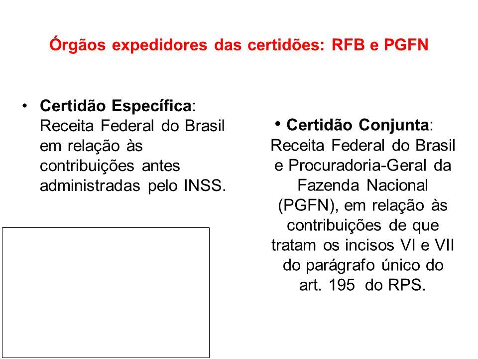 Órgãos expedidores das certidões: RFB e PGFN Certidão Conjunta: Receita Federal do Brasil e Procuradoria-Geral da Fazenda Nacional (PGFN), em relação