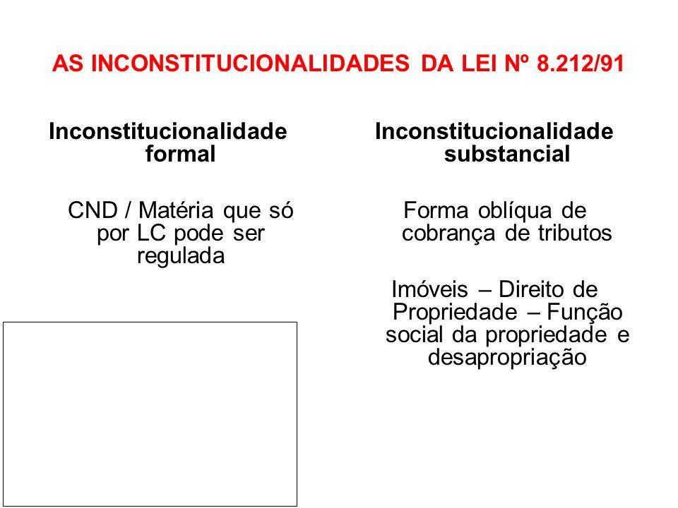 AS INCONSTITUCIONALIDADES DA LEI Nº 8.212/91 Inconstitucionalidade formal CND / Matéria que só por LC pode ser regulada Inconstitucionalidade substanc
