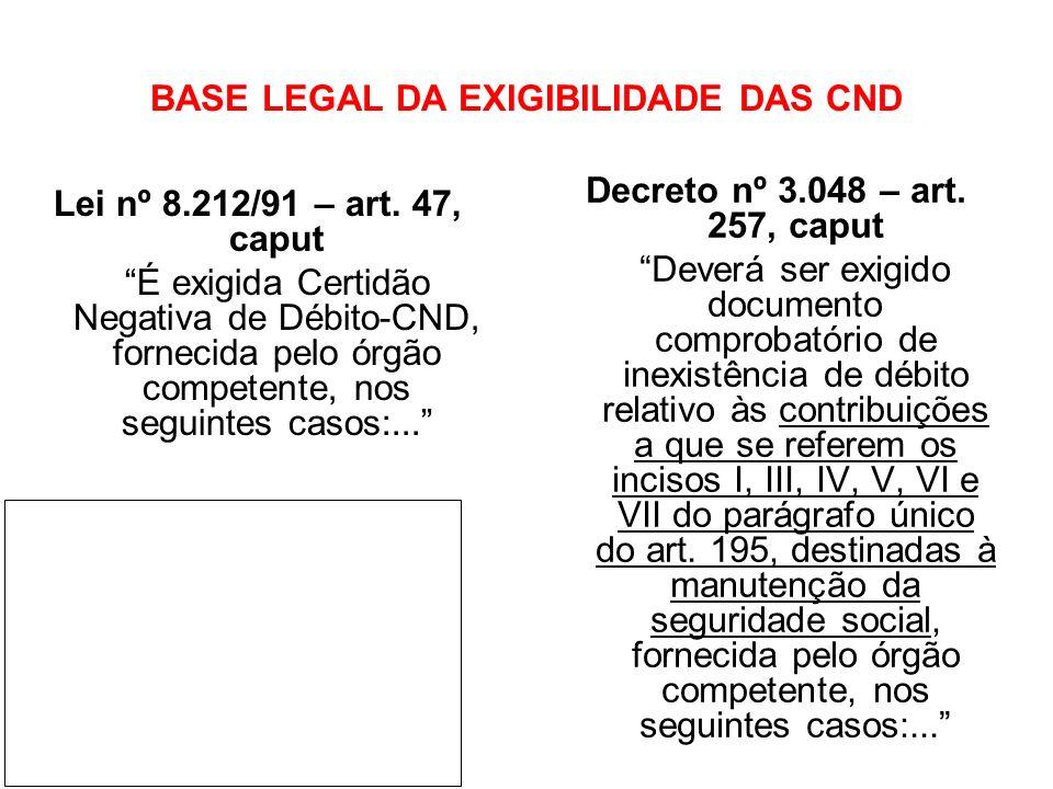 BASE LEGAL DA EXIGIBILIDADE DAS CND Lei nº 8.212/91 – art. 47, caput É exigida Certidão Negativa de Débito-CND, fornecida pelo órgão competente, nos s