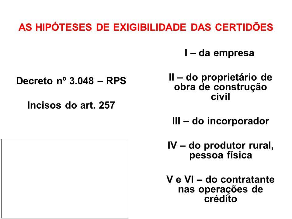 AS HIPÓTESES DE EXIGIBILIDADE DAS CERTIDÕES Decreto nº 3.048 – RPS Incisos do art. 257 I – da empresa II – do proprietário de obra de construção civil