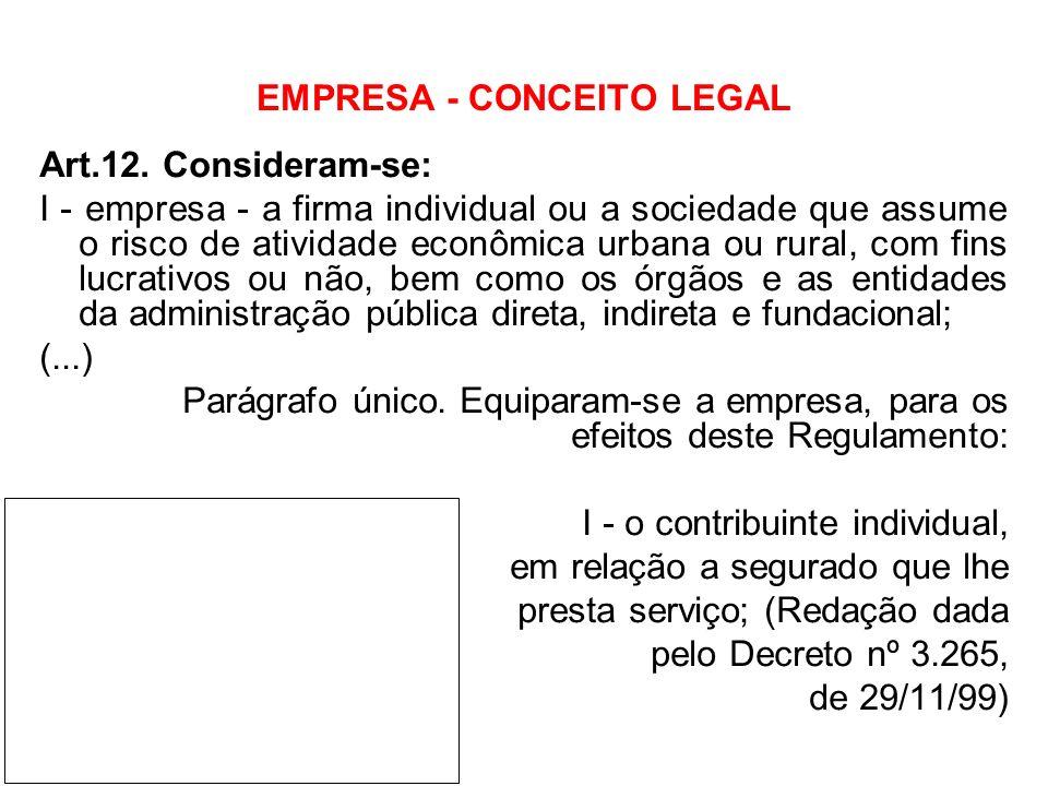 EMPRESA - CONCEITO LEGAL Art.12. Consideram-se: I - empresa - a firma individual ou a sociedade que assume o risco de atividade econômica urbana ou ru