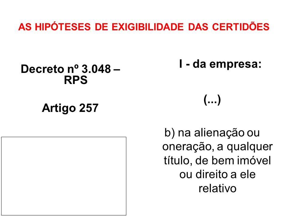 AS HIPÓTESES DE EXIGIBILIDADE DAS CERTIDÕES Decreto nº 3.048 – RPS Artigo 257 I - da empresa: (...) b) na alienação ou oneração, a qualquer título, de