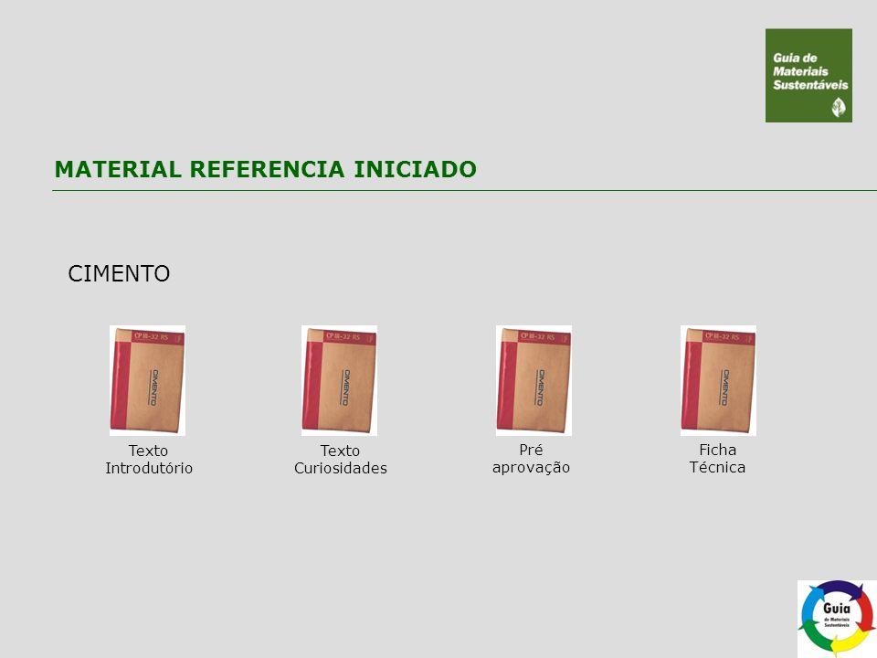 CIMENTO Texto Introdutório Ficha Técnica Pré aprovação Texto Curiosidades MATERIAL REFERENCIA INICIADO