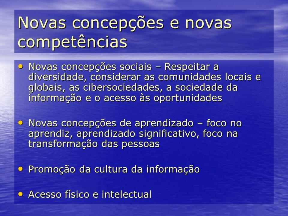 Novas concepções e novas competências Novas concepções sociais – Respeitar a diversidade, considerar as comunidades locais e globais, as cibersociedad