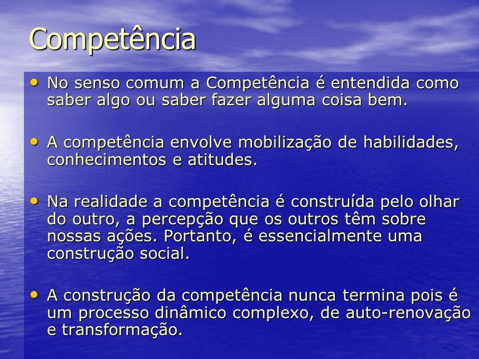 Competência No senso comum a Competência é entendida como saber algo ou saber fazer alguma coisa bem. No senso comum a Competência é entendida como sa