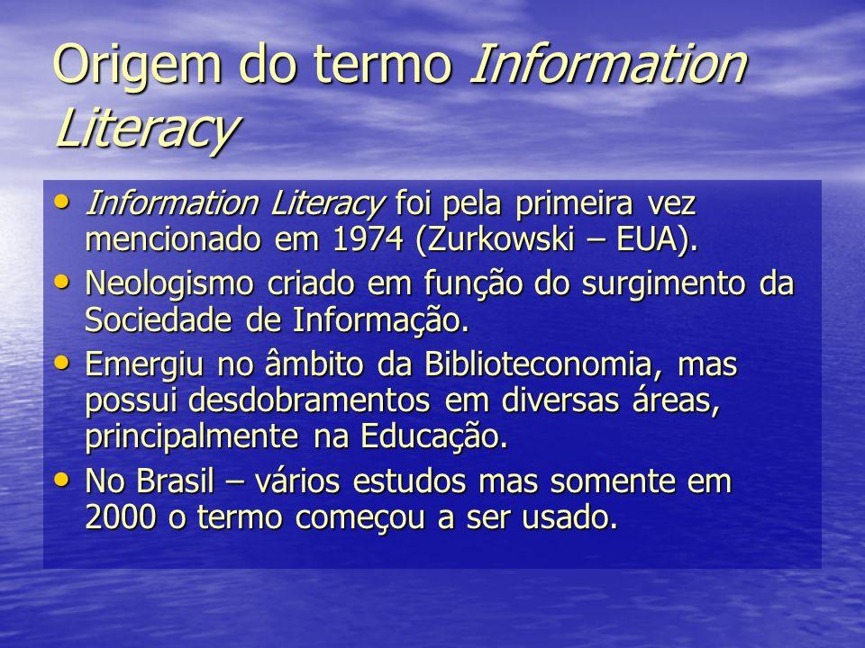Origem do termo Information Literacy Information Literacy foi pela primeira vez mencionado em 1974 (Zurkowski – EUA). Information Literacy foi pela pr
