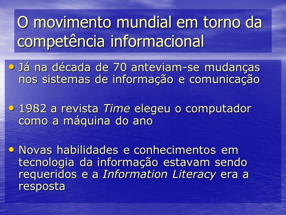 O movimento mundial em torno da competência informacional Já na década de 70 anteviam-se mudanças nos sistemas de informação e comunicação Já na décad