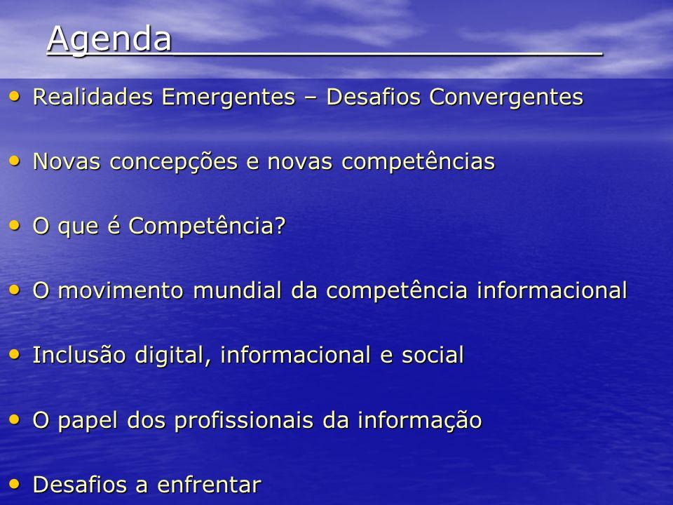 Diferentes concepções de Information Literacy ou Competência em Informação Ênfase em dados e informações Ênfase no conhecimento Ênfase no Aprendizado e na Inteligência