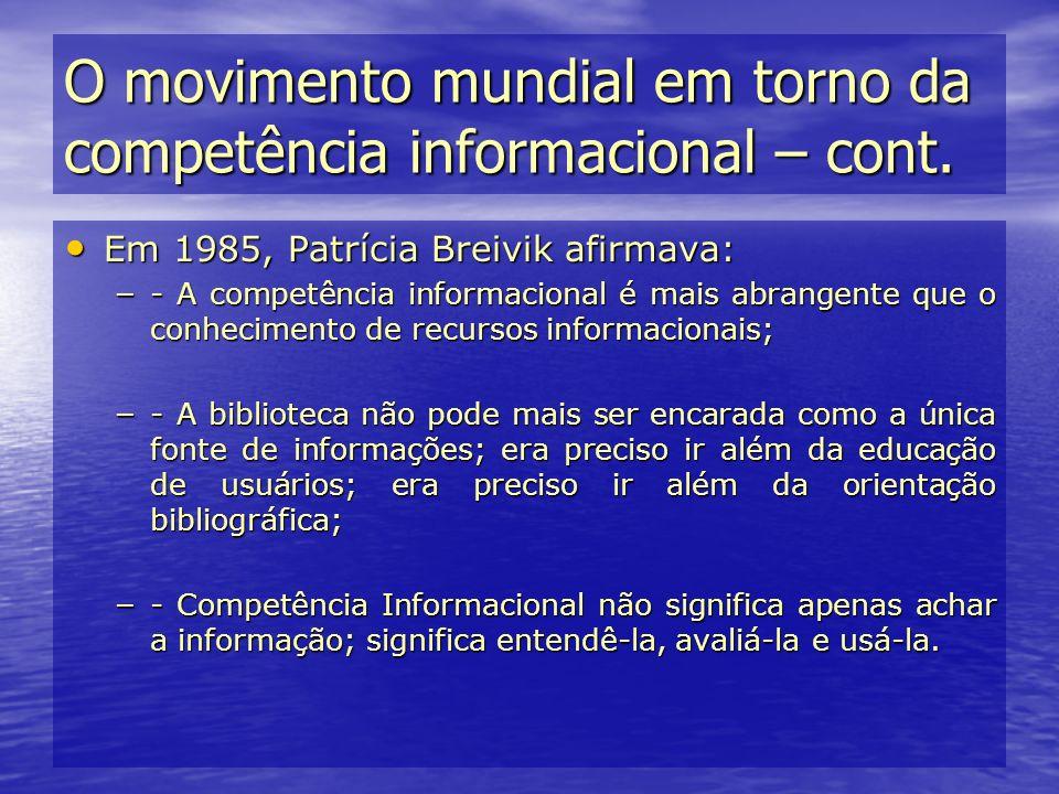 Em 1985, Patrícia Breivik afirmava: Em 1985, Patrícia Breivik afirmava: – - A competência informacional é mais abrangente que o conhecimento de recurs