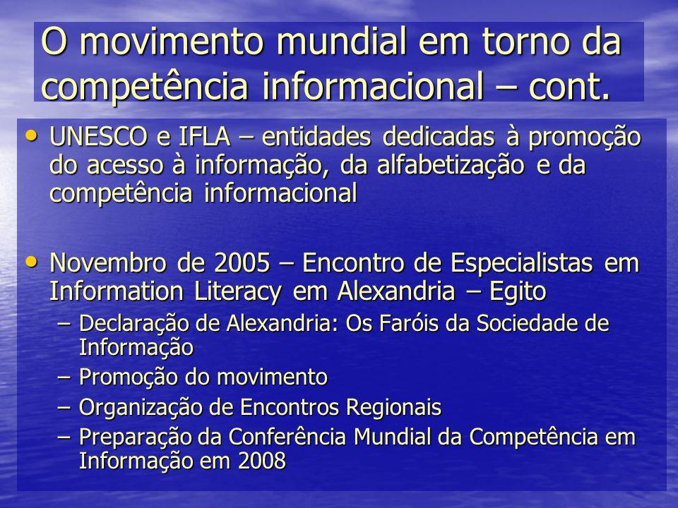 O movimento mundial em torno da competência informacional – cont. UNESCO e IFLA – entidades dedicadas à promoção do acesso à informação, da alfabetiza