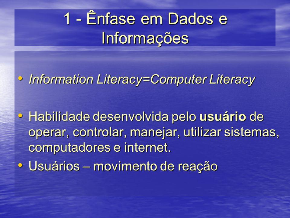 1 - Ênfase em Dados e Informações Information Literacy=Computer Literacy Information Literacy=Computer Literacy Habilidade desenvolvida pelo usuário d