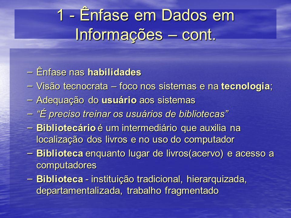1 - Ênfase em Dados em Informações – cont. – Ênfase nas habilidades – Visão tecnocrata – foco nos sistemas e na tecnologia; – Adequação do usuário aos