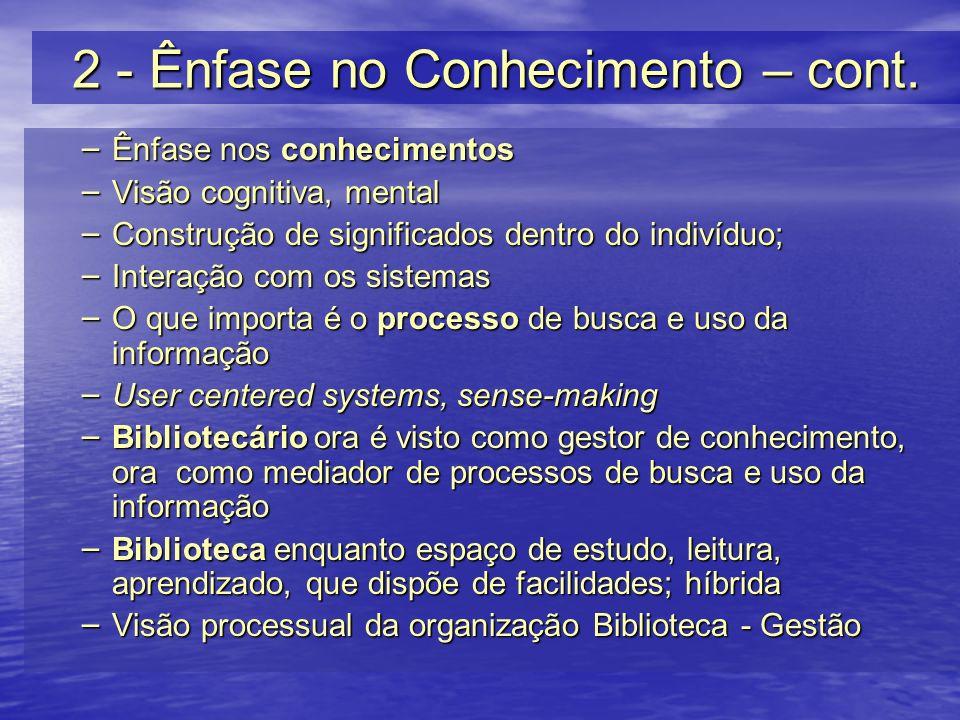2 - Ênfase no Conhecimento – cont. – Ênfase nos conhecimentos – Visão cognitiva, mental – Construção de significados dentro do indivíduo; – Interação
