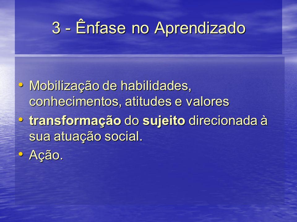 3 - Ênfase no Aprendizado Mobilização de habilidades, conhecimentos, atitudes e valores Mobilização de habilidades, conhecimentos, atitudes e valores