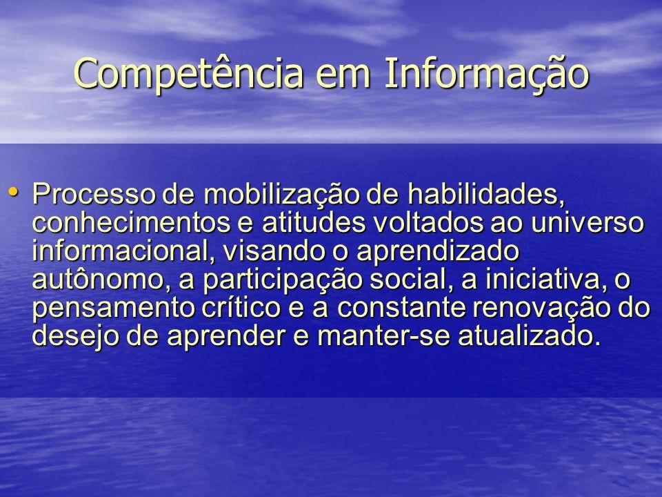 Competência em Informação Processo de mobilização de habilidades, conhecimentos e atitudes voltados ao universo informacional, visando o aprendizado a