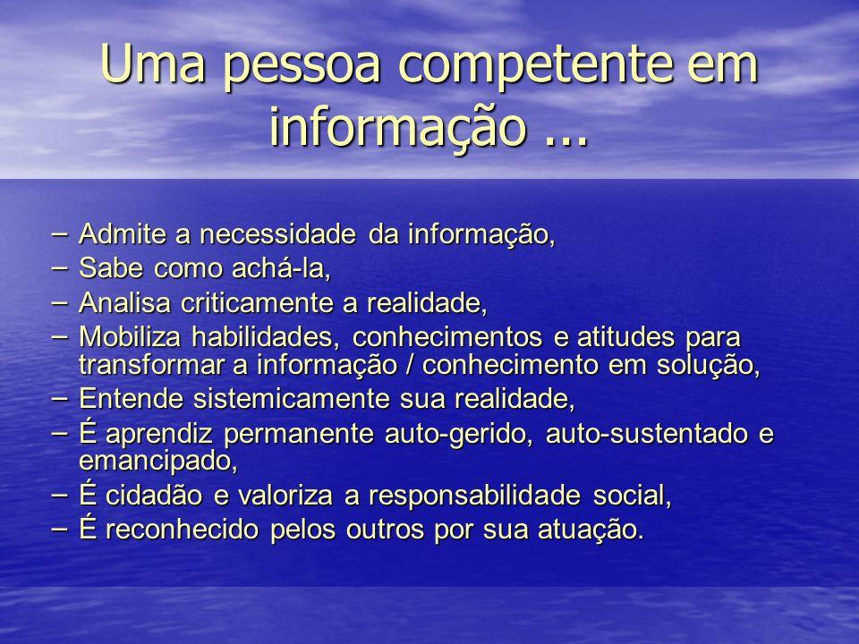 Uma pessoa competente em informação... – Admite a necessidade da informação, – Sabe como achá-la, – Analisa criticamente a realidade, – Mobiliza habil