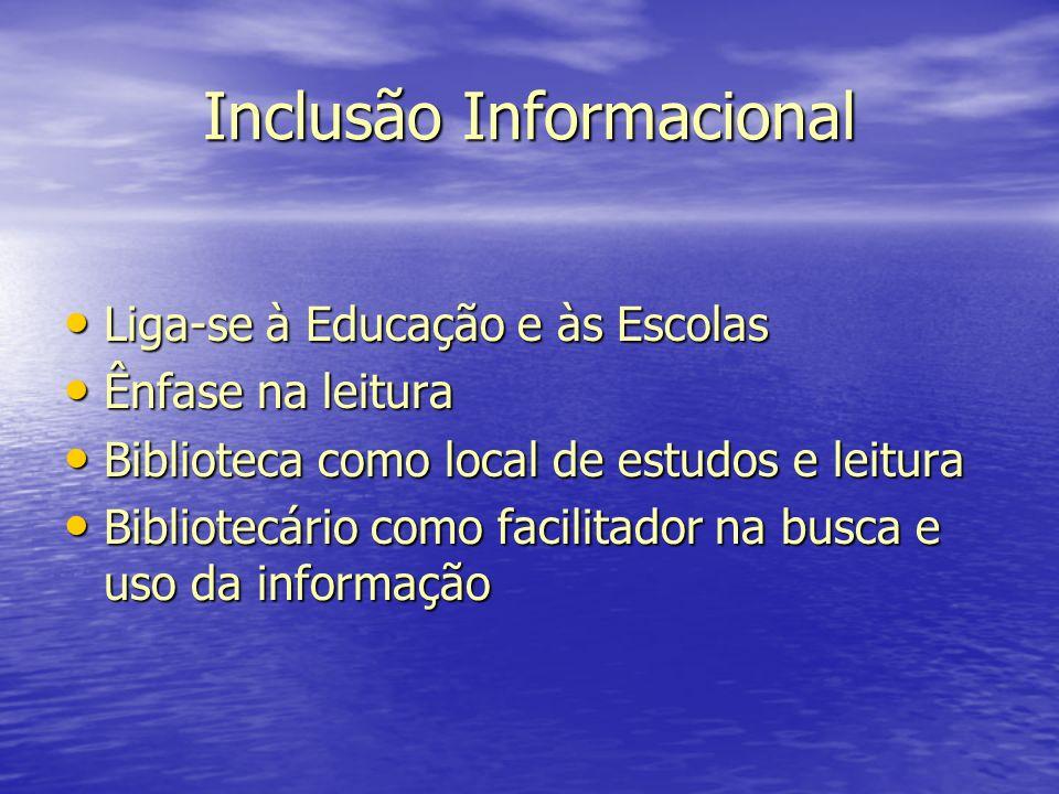 Inclusão Informacional Liga-se à Educação e às Escolas Liga-se à Educação e às Escolas Ênfase na leitura Ênfase na leitura Biblioteca como local de es