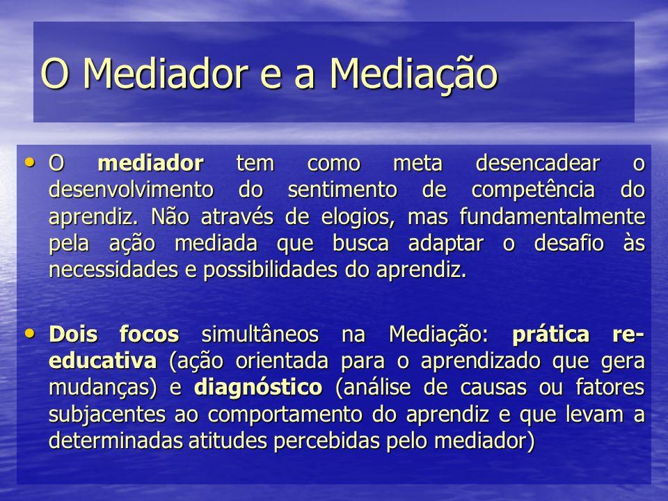 O Mediador e a Mediação O mediador tem como meta desencadear o desenvolvimento do sentimento de competência do aprendiz. Não através de elogios, mas f