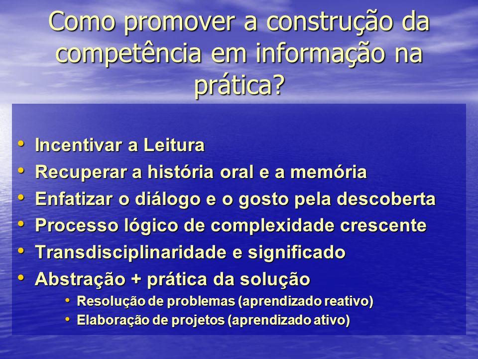 Como promover a construção da competência em informação na prática? Incentivar a Leitura Incentivar a Leitura Recuperar a história oral e a memória Re