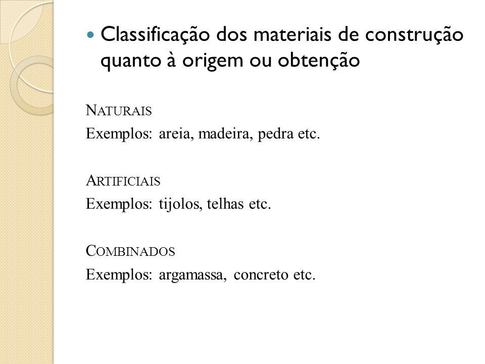 Classificação dos materiais de construção quanto à origem ou obtenção N ATURAIS Exemplos: areia, madeira, pedra etc. A RTIFICIAIS Exemplos: tijolos, t
