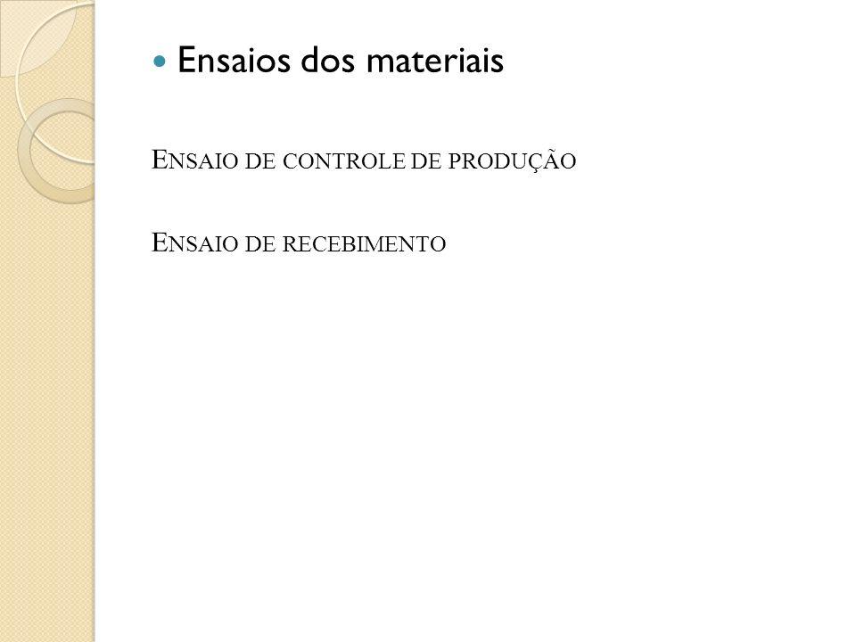 Ensaios dos materiais E NSAIO DE CONTROLE DE PRODUÇÃO E NSAIO DE RECEBIMENTO
