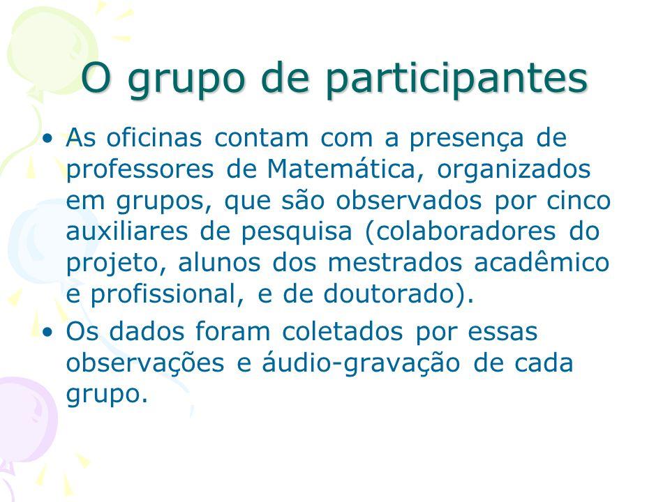 O grupo de participantes As oficinas contam com a presença de professores de Matemática, organizados em grupos, que são observados por cinco auxiliare