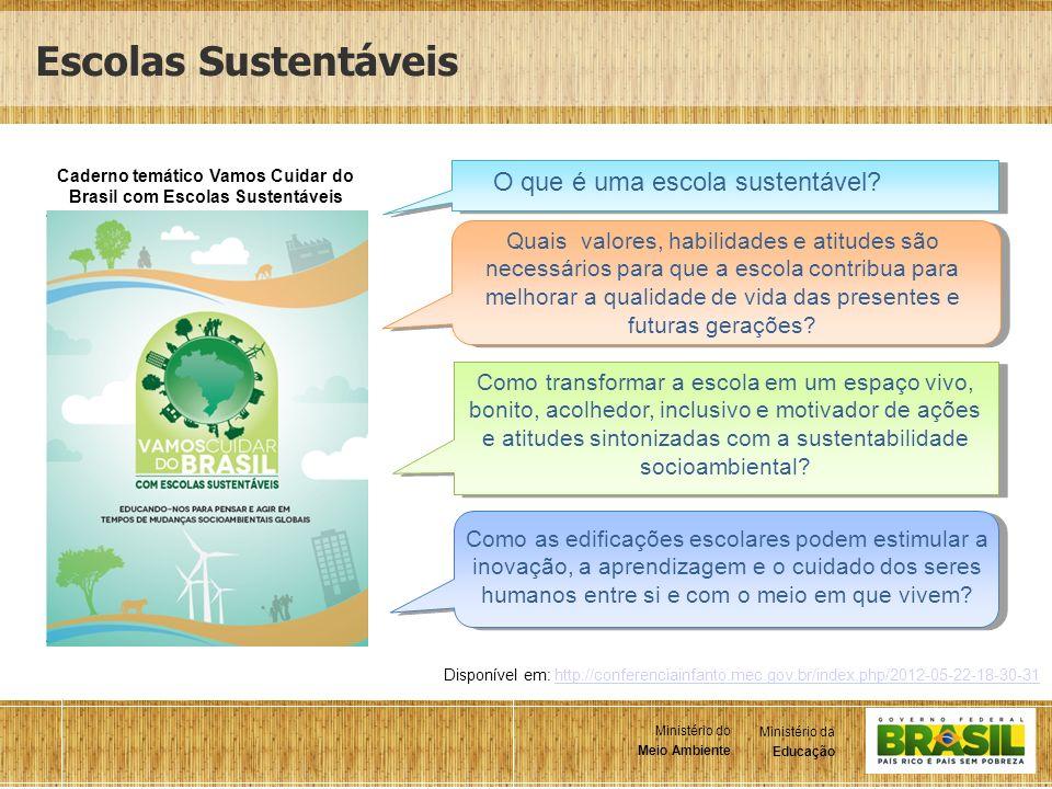 2 Ministério da Educação Ministério do Meio Ambiente Ministério da Educação Ministério do Meio Ambiente Escolas Sustentáveis Caderno temático Vamos Cu