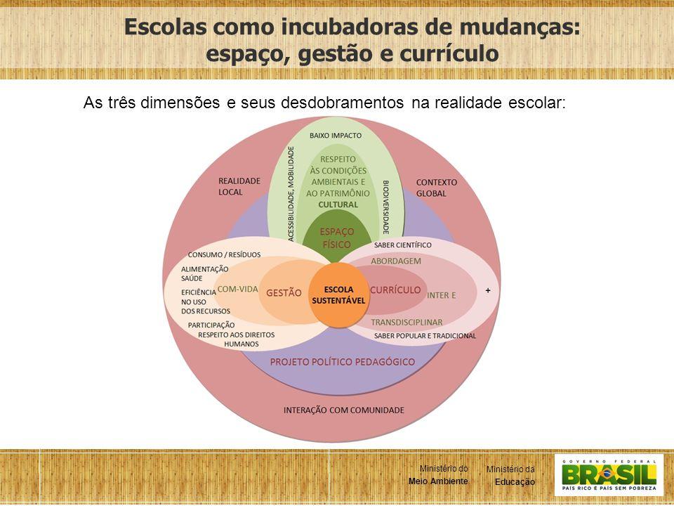 4 Ministério da Educação Ministério do Meio Ambiente Ministério da Educação Ministério do Meio Ambiente Escolas como incubadoras de mudanças: espaço,