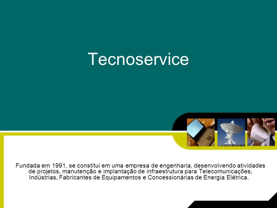 Empresa A TECNOSERVICE Engenharia de Infra-Estrutura Ltda, fundada em 1991, se constitui em uma empresa de engenharia, desenvolvendo atividades de projetos, manutenção e implantação de infra-estrutura para Telecomunicações, Indústrias, Fabricantes de Equipamentos e Concessionárias de Energia Elétrica.