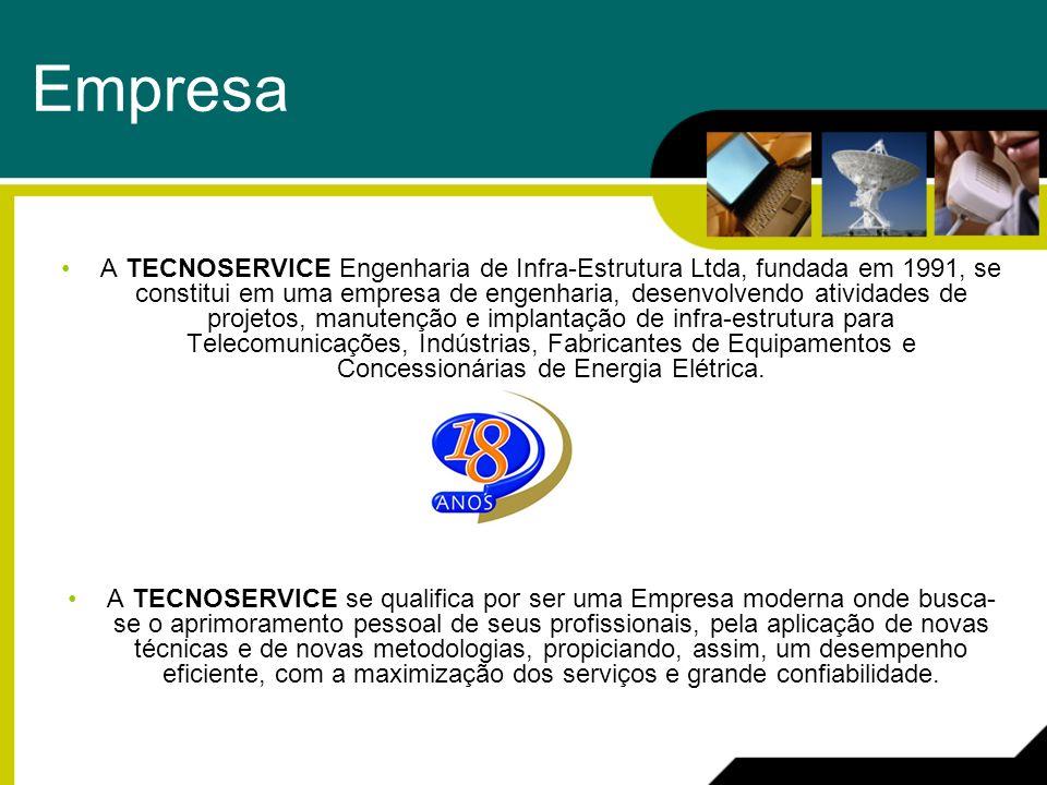 Serviços Telecomunicações Construção Civil Sistema CC e CA Sistemas Irradiantes Telefonia Móvel e Fixa Industrial Sistemas Elétricos Circuitos Fechados de TV (CFTV) Redes Estruturadas