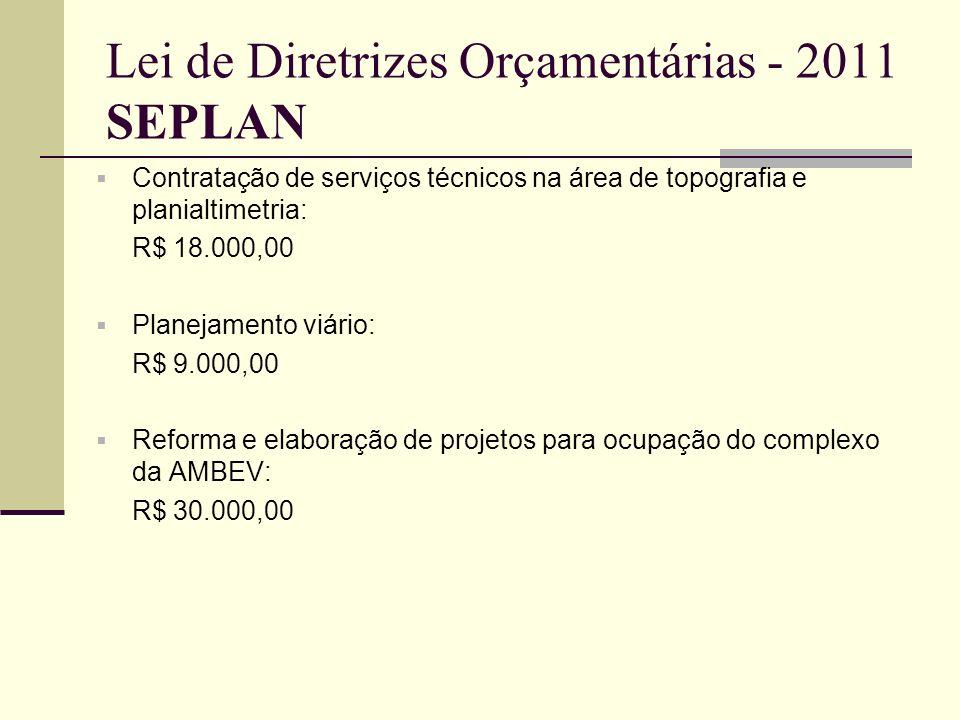 Lei de Diretrizes Orçamentárias - 2011 SEPLAN Contratação de serviços técnicos na área de topografia e planialtimetria: R$ 18.000,00 Planejamento viár