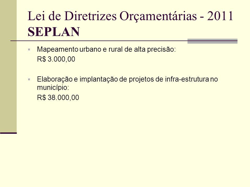 Lei de Diretrizes Orçamentárias - 2011 SEPLAN Mapeamento urbano e rural de alta precisão: R$ 3.000,00 Elaboração e implantação de projetos de infra-es