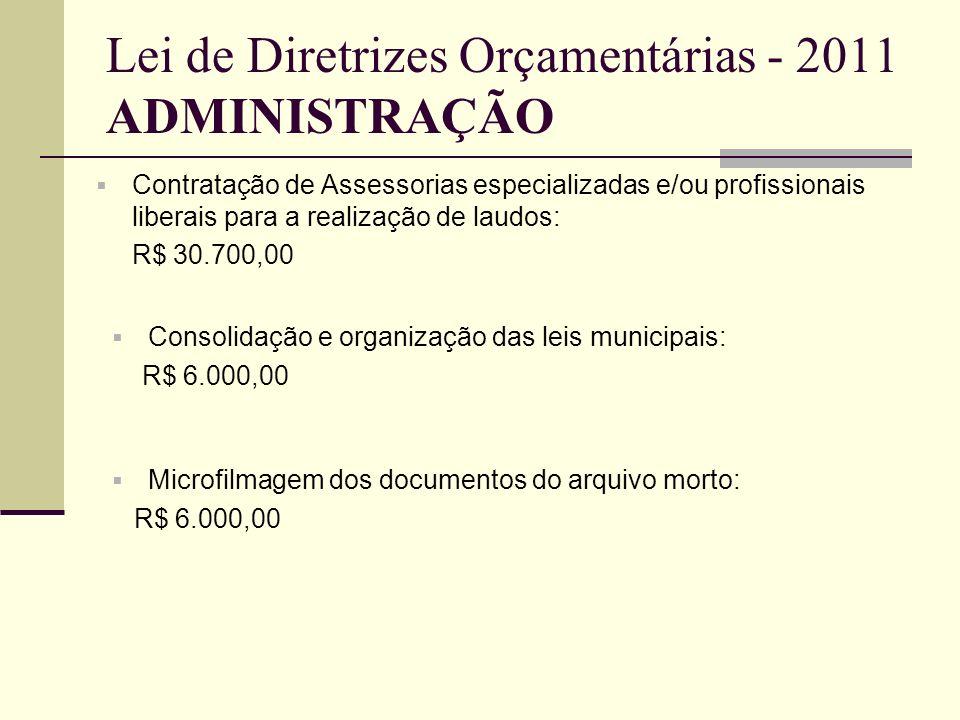 Lei de Diretrizes Orçamentárias - 2011 ADMINISTRAÇÃO Contratação de Assessorias especializadas e/ou profissionais liberais para a realização de laudos
