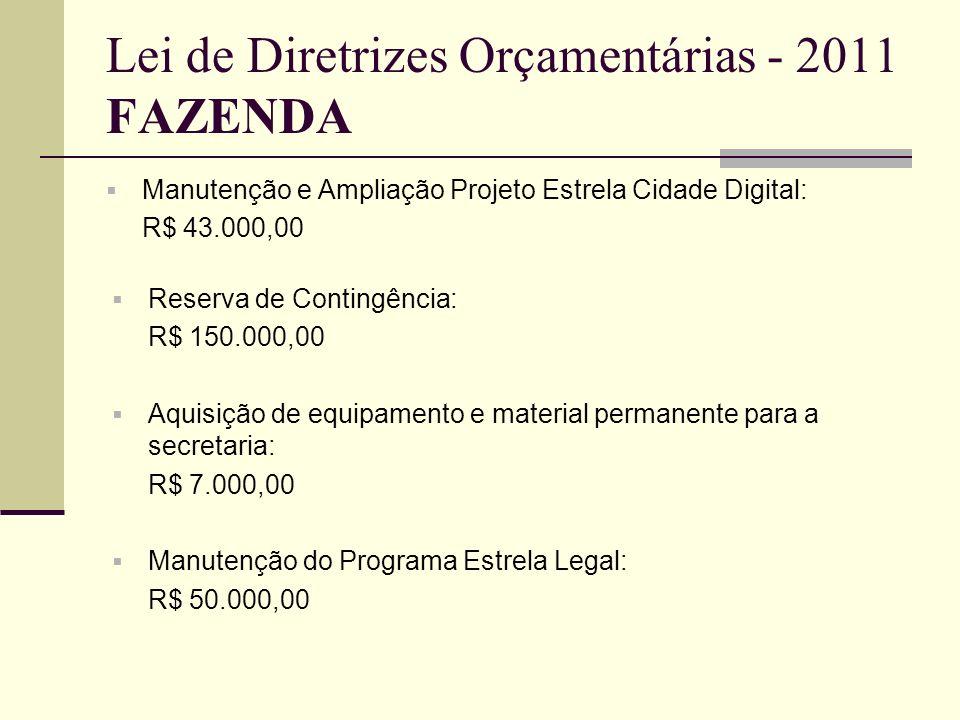 Lei de Diretrizes Orçamentárias - 2011 FAZENDA Manutenção e Ampliação Projeto Estrela Cidade Digital: R$ 43.000,00 Reserva de Contingência: R$ 150.000