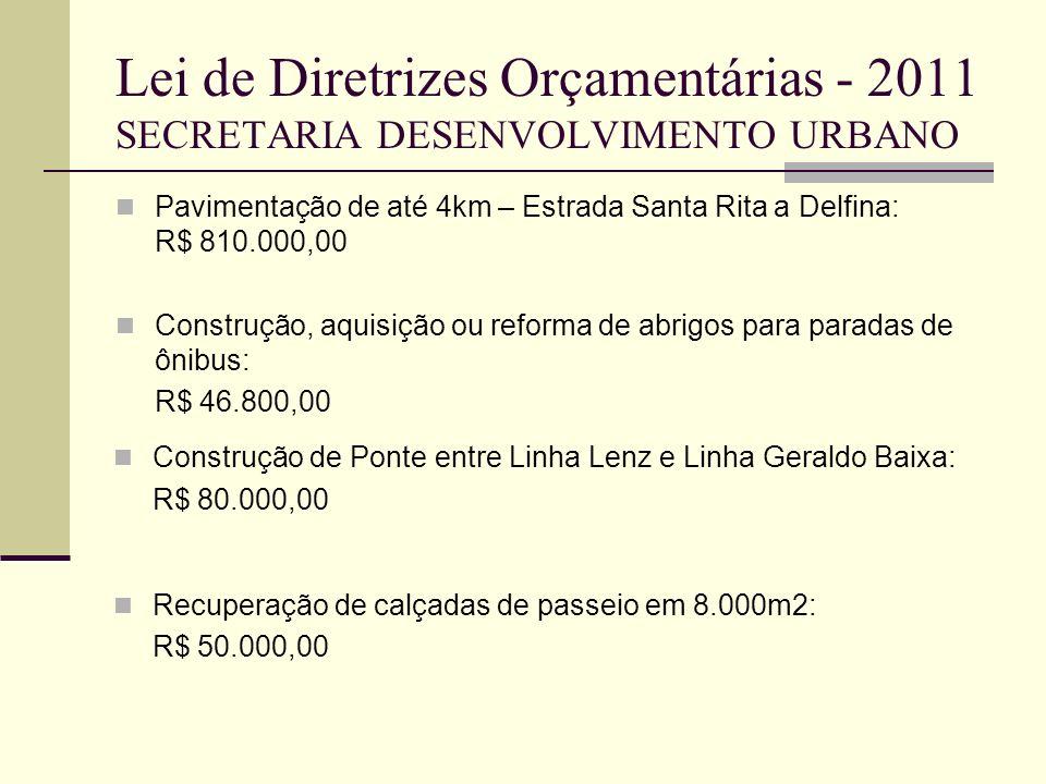 Lei de Diretrizes Orçamentárias - 2011 SECRETARIA DESENVOLVIMENTO URBANO Pavimentação de até 4km – Estrada Santa Rita a Delfina: R$ 810.000,00 Constru