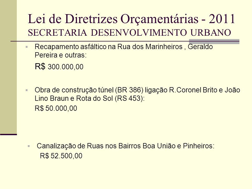 Lei de Diretrizes Orçamentárias - 2011 SECRETARIA DESENVOLVIMENTO URBANO Recapamento asfáltico na Rua dos Marinheiros, Geraldo Pereira e outras: R$ 30