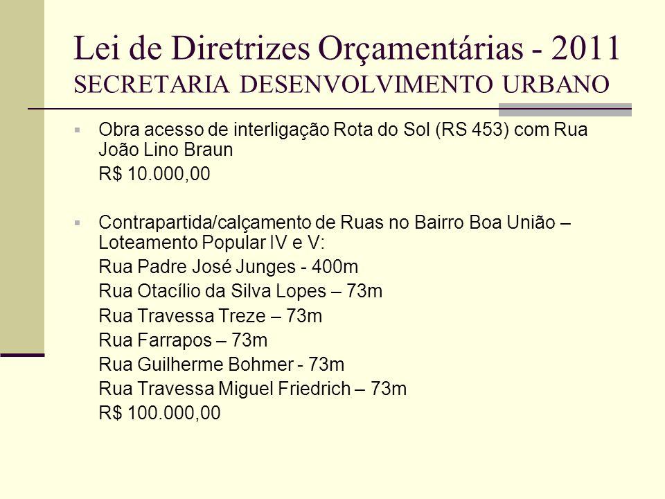 Lei de Diretrizes Orçamentárias - 2011 SECRETARIA DESENVOLVIMENTO URBANO Obra acesso de interligação Rota do Sol (RS 453) com Rua João Lino Braun R$ 1