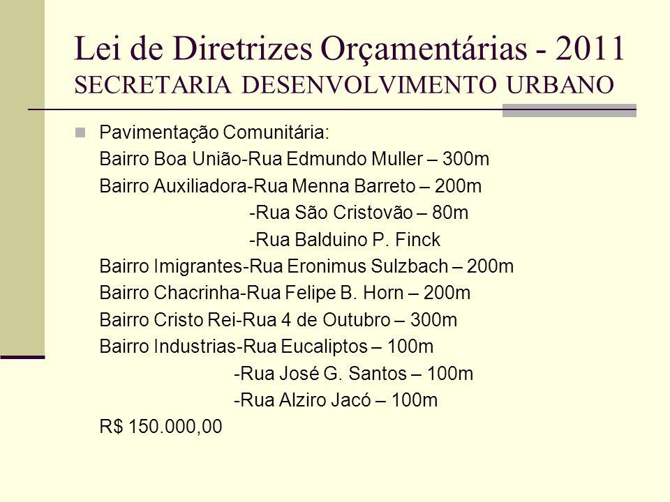 Lei de Diretrizes Orçamentárias - 2011 SECRETARIA DESENVOLVIMENTO URBANO Pavimentação Comunitária: Bairro Boa União-Rua Edmundo Muller – 300m Bairro A