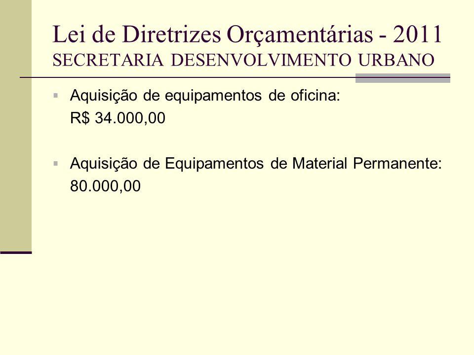 Lei de Diretrizes Orçamentárias - 2011 SECRETARIA DESENVOLVIMENTO URBANO Aquisição de equipamentos de oficina: R$ 34.000,00 Aquisição de Equipamentos
