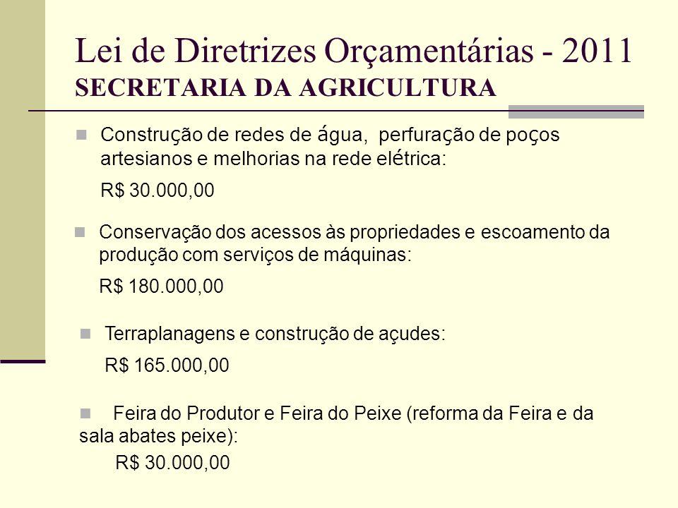Lei de Diretrizes Orçamentárias - 2011 SECRETARIA DA AGRICULTURA Constru ç ão de redes de á gua, perfura ç ão de po ç os artesianos e melhorias na red