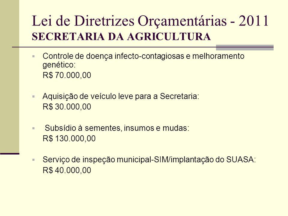 Lei de Diretrizes Orçamentárias - 2011 SECRETARIA DA AGRICULTURA Controle de doença infecto-contagiosas e melhoramento genético: R$ 70.000,00 Aquisiçã