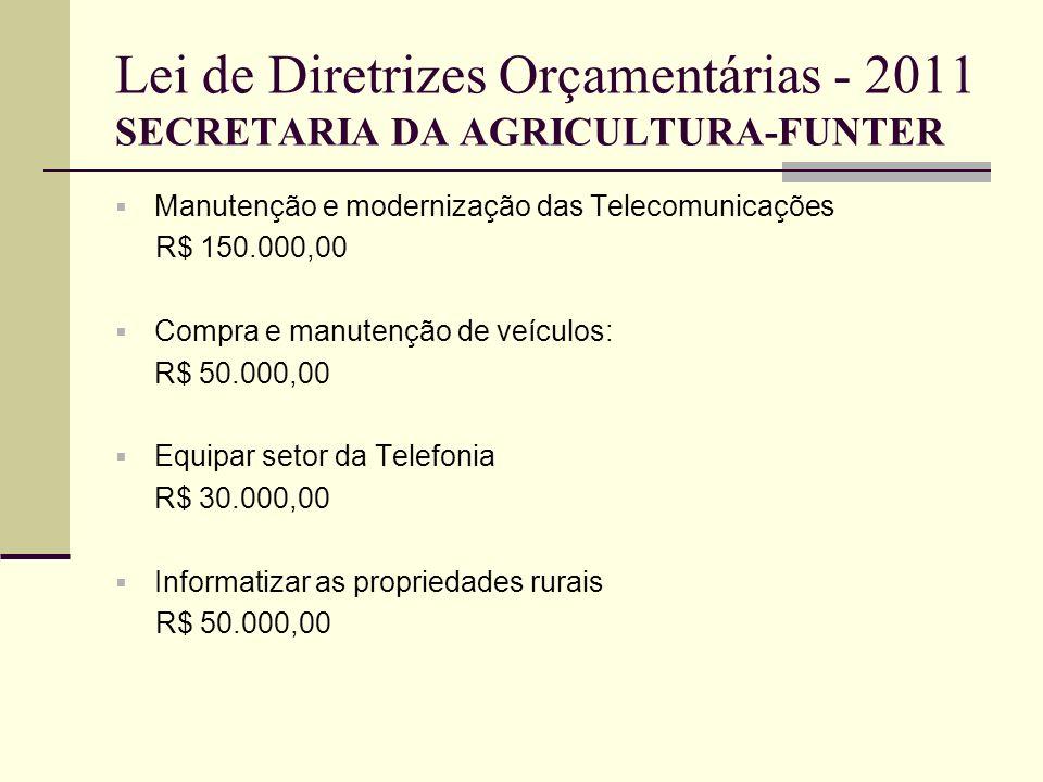 Lei de Diretrizes Orçamentárias - 2011 SECRETARIA DA AGRICULTURA-FUNTER Manutenção e modernização das Telecomunicações R$ 150.000,00 Compra e manutenç