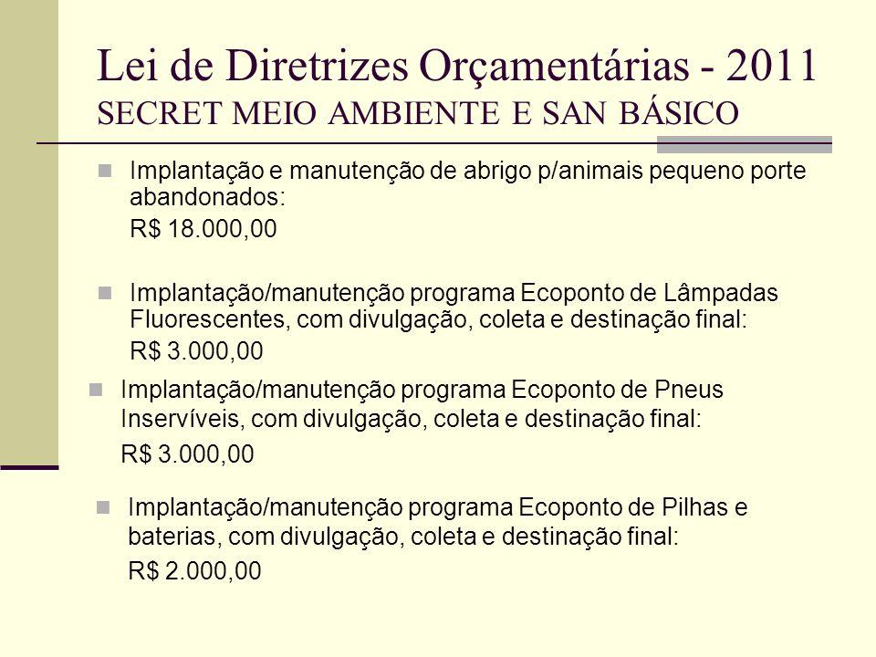 Lei de Diretrizes Orçamentárias - 2011 SECRET MEIO AMBIENTE E SAN BÁSICO Implantação e manutenção de abrigo p/animais pequeno porte abandonados: R$ 18