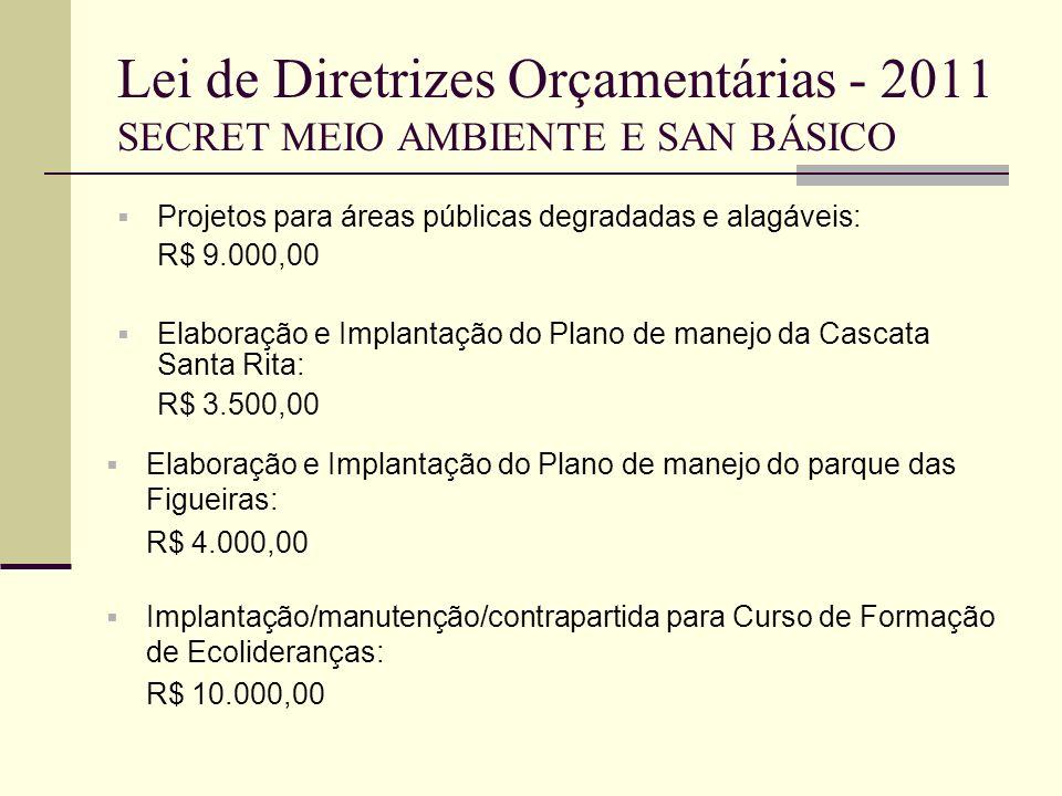 Lei de Diretrizes Orçamentárias - 2011 SECRET MEIO AMBIENTE E SAN BÁSICO Projetos para áreas públicas degradadas e alagáveis: R$ 9.000,00 Elaboração e